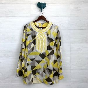 Tory Burch Yellow Gray Mosaic Embellished Tunic